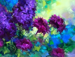 Beyond the Sunset Carnations by Nancy Medina 16X16, oil