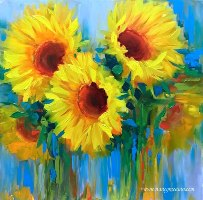 Viewed through antique glass, the sunflowers in my studio took on a life of their own!