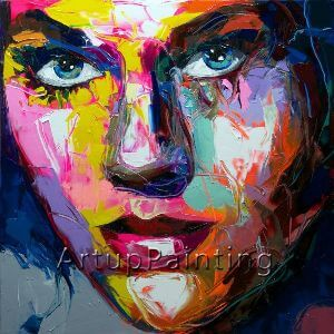 Palette knife Face Oil painting Impasto figure on canvas Hand painted Francoise