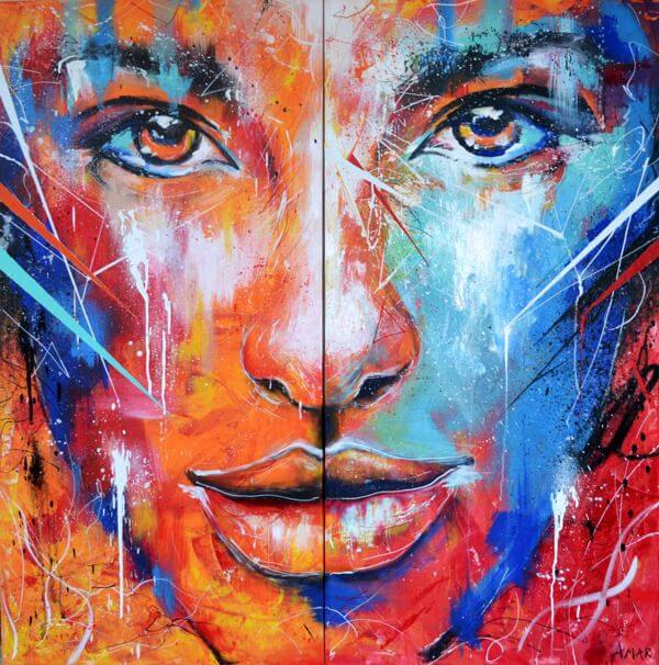 Palette knife painting portrait Palette knife Face Oil painting Impasto figure on canvas Hand painte
