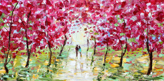 Spring Couple in Love Landscape Palette knife modern impressionism impasto fineart